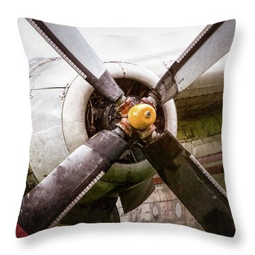 Throw Pillow featuring the photograph Radial Engine And Prop - Fairchild C-119 Flying Boxcar by Gary Heller