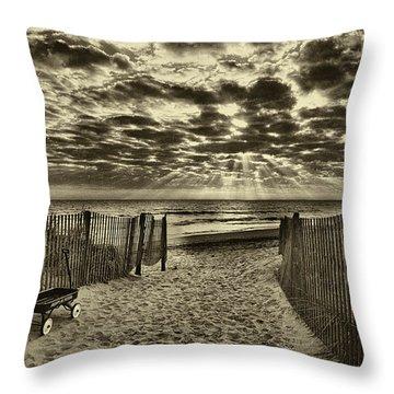 Radio Flyer At Dewey Beach Throw Pillow by Jack Paolini