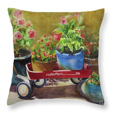 Throw Pillow featuring the painting Radio Flyer by Karen Fleschler