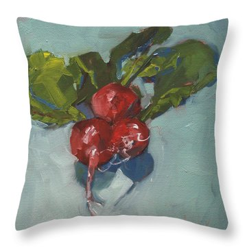Radishes Throw Pillow by Barbara Andolsek