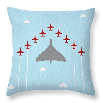 Raf Red Arrows In Formation With Vulcan Bomber Throw Pillow