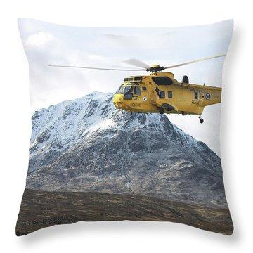 Throw Pillow featuring the digital art Raf Sea King - Sar by Pat Speirs
