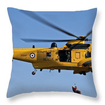 Raf Sea King Search And Rescue Helicopter 2 Throw Pillow by Steve Purnell