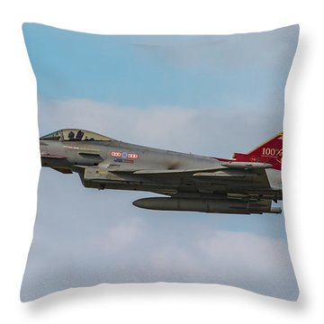 Raf Typhoon In Flight At Uk Airshow Throw Pillow
