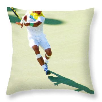 Rafael Nadal Shadow Play Throw Pillow by Steven Sparks