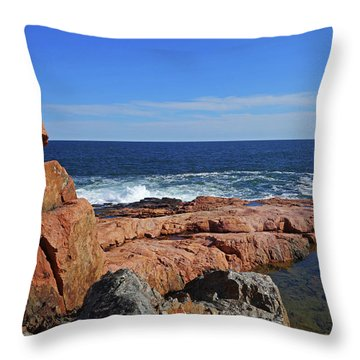 Rafe's Chasm Gloucester Ma North Shore Rocky Throw Pillow
