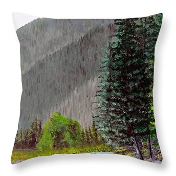 Throw Pillow featuring the painting Rafting The Gallatin by Kevin Daly