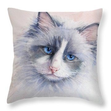 Throw Pillow featuring the painting Ragdoll Cat by Bonnie Rinier