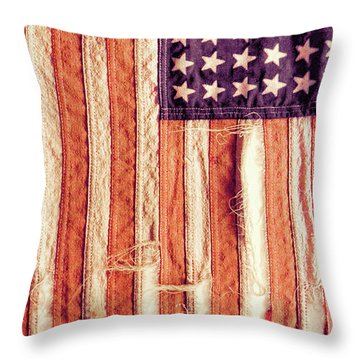 Ragged American Flag Throw Pillow by Jill Battaglia