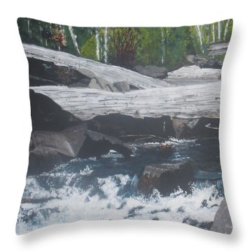 Throw Pillow featuring the painting Ragged Falls by Betty-Anne McDonald
