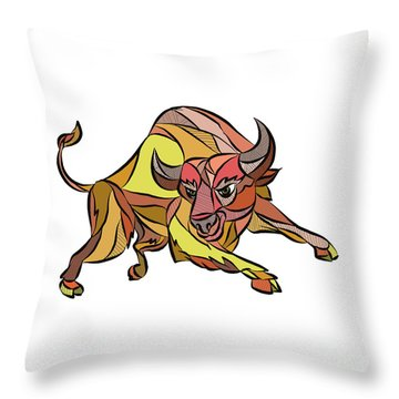 Raging Bull Charging Drawing Throw Pillow by Aloysius Patrimonio