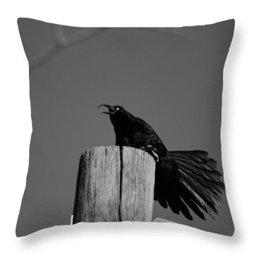 Raging Crow Throw Pillow