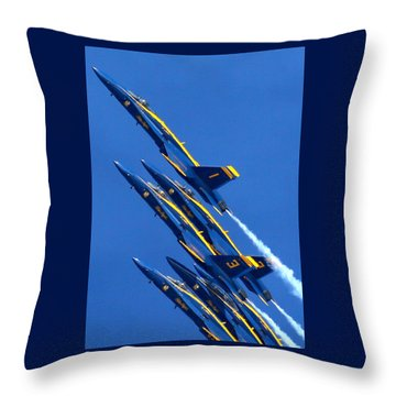 Raging Heap Of Blue And Yellow Throw Pillow