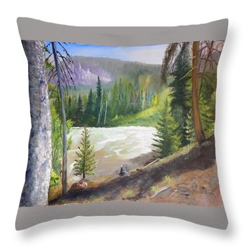 Raging River Throw Pillow by Sherril Porter