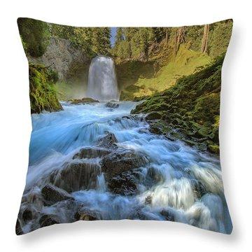 Raging Sahalie Falls Throw Pillow by David Gn