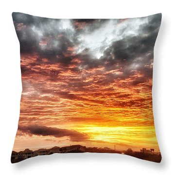 Raging Sunset Throw Pillow