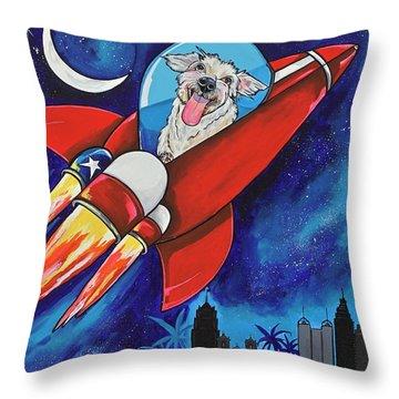 Rags The Rocket Dog Throw Pillow