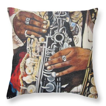 Blaa Kattproduksjoner.      Jazzed  Throw Pillow