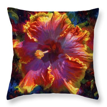 Rainbow Hibiscus Tropical Flower Wall Art Botanical Oil Painting Radiance  Throw Pillow