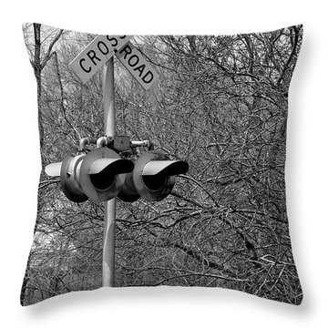 Throw Pillow featuring the photograph Rail Road Crossing by Juls Adams