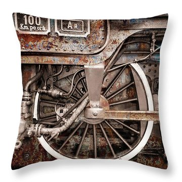 Rail Wheel Grunge Detail,  Steam Locomotive 06 Throw Pillow