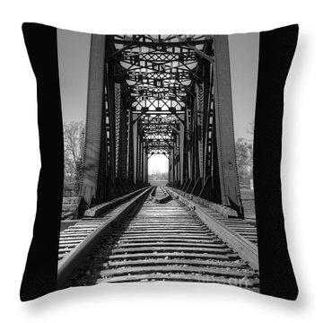 Railroad Bridge Black And White Throw Pillow