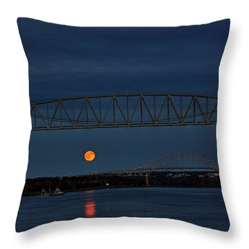 Throw Pillow featuring the photograph Railroad Bridge Over A Full Moon by Greg DeBeck