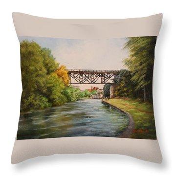 Railroad Bridge Over Erie Canal Throw Pillow