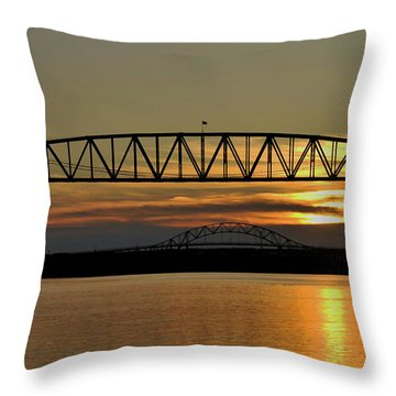 Railroad Bridge Over The Canal Throw Pillow