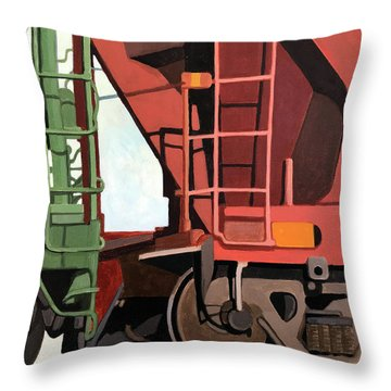 Railroad Cars - Realistic Train Oil Painting Throw Pillow