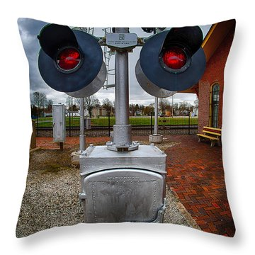 Railroad Crossing Signal Throw Pillow