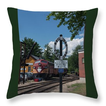 Railroad Crossing Throw Pillow by Suzanne Gaff