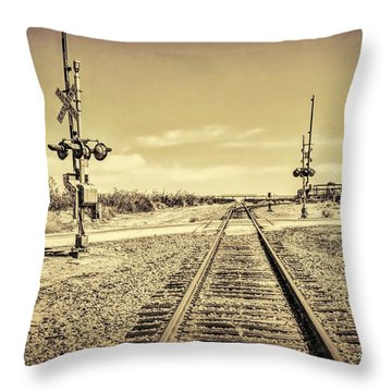 Railroad Crossing Textured Throw Pillow