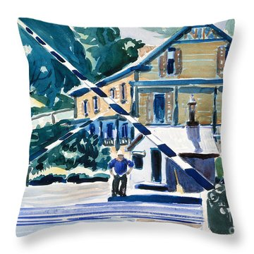 Railroad Crossing, The Berkshires Throw Pillow