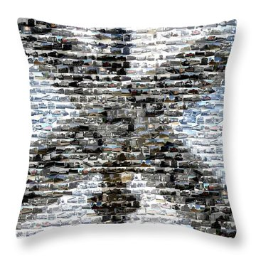 Throw Pillow featuring the mixed media Railroad Crossing Trains Mosaic by Paul Van Scott