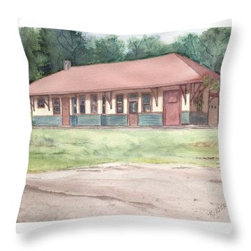 Railroad Depot Throw Pillow by Katherine  Berlin