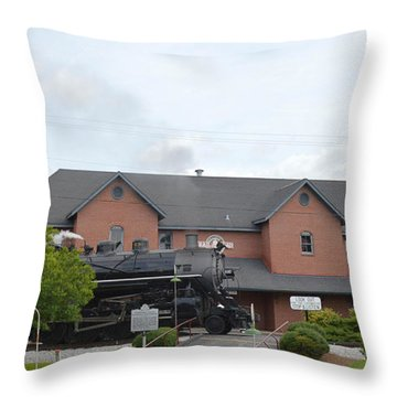 Railroad Depot Throw Pillow