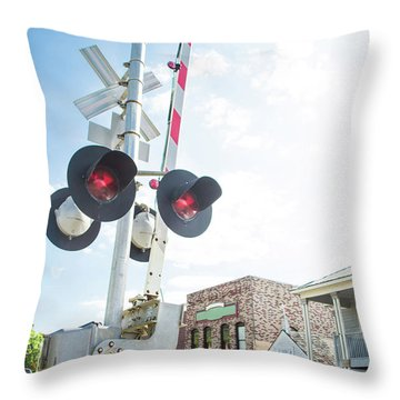 Throw Pillow featuring the photograph Railroad Lights In Old Town Helena by Parker Cunningham