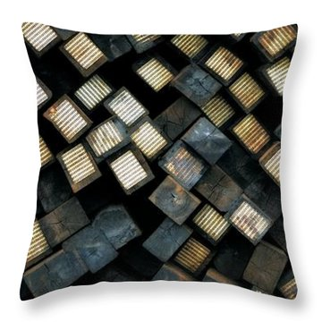 Railroad Ties Stacked Throw Pillow