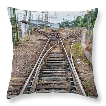 Throw Pillow featuring the photograph Railroad Tracks And Junctions by Antony McAulay