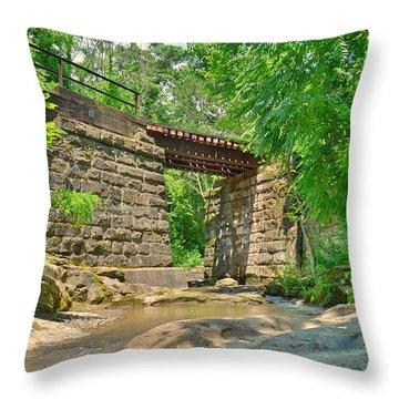 Railroad Tracks At Buttermilk/homewood Falls Throw Pillow