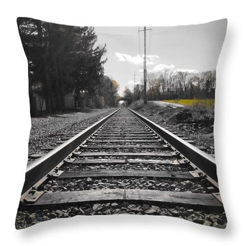 Railroad Tracks Bw Throw Pillow
