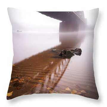 Railway Bridge During Foggy Morning In Prague, Czech Republic Throw Pillow