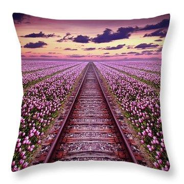 Railway In A Purple Tulip Field Throw Pillow