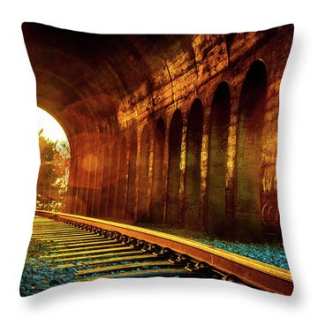 Railway Track Sunrise Throw Pillow