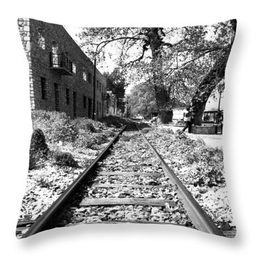 Railway Tracks Aigio Greece Throw Pillow by Frank Filippoupolitis