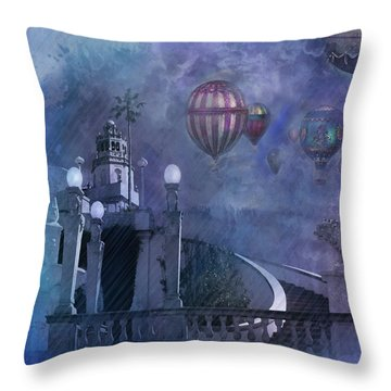 Throw Pillow featuring the digital art Rain And Balloons At Hearst Castle by Jeff Burgess