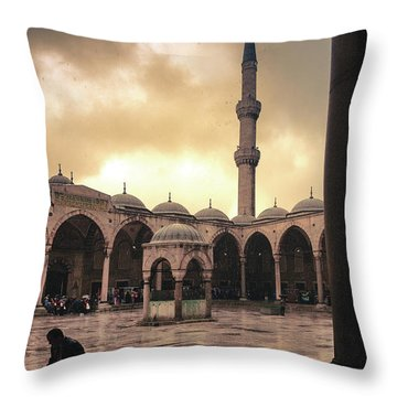 Rain At The Blue Mosque Throw Pillow