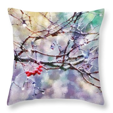 Rain Berries Throw Pillow