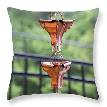 Rain Chains Throw Pillow